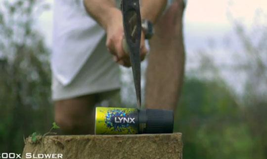 Axe Through a Deodorant Can