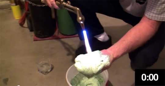 Man Torches His Hand To Show Insulating Foam