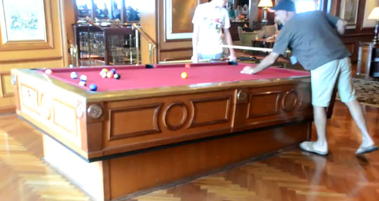 Self-Leveling Pool Table On a Cruise Ship