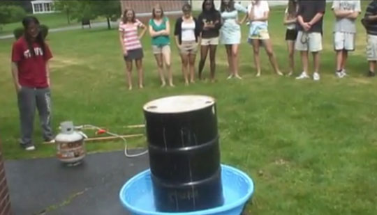 Kids Experiment Crushing a Steel Drum Using Air Pressure