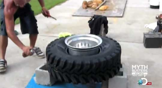 Starter Fluid Tire Inflation [MythBusters]