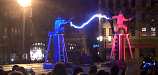 Two Men + Tesla Coils + Special Suits=ELECTRICITY FIGHT