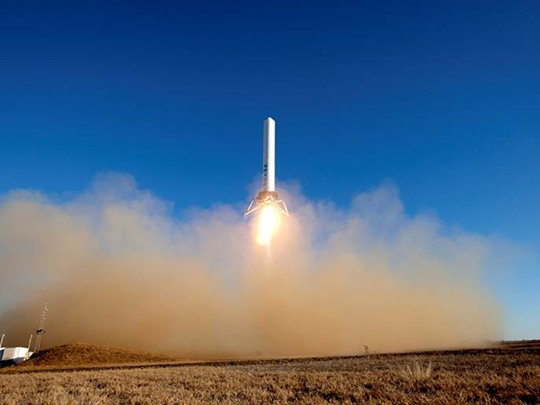 SpaceX, Grasshopper, experiment, takeoff, hover, landing, rocket,