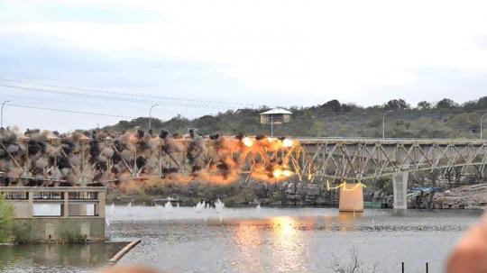 US 281 bridge, Marble Falls Texas, demolition, slow motion
