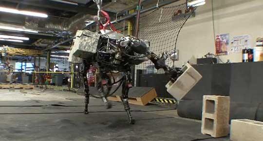 BigDog Robot Experiments Throwing Bricks