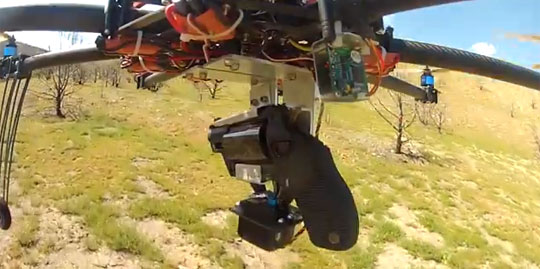 Pistol Mounted on a Quadcopter