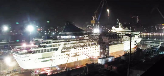 Cruise Ship Cut in Half, Then Stretched 30 meters
