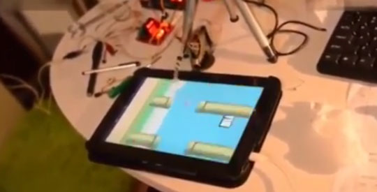 Robot Build Just to Play Flappy Bird Game