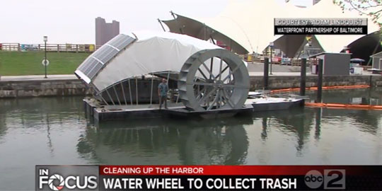 Efficient Water Cleaning with a Slow Water Wheel