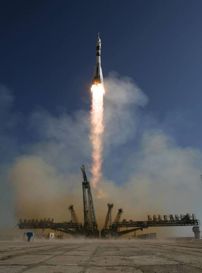 The Soyuz TMA-16 launches from the Baikonur Cosmodrome in Kazakhstan