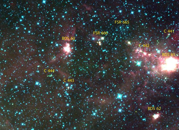 A group of closely associated star clusters in the Perseus Spiral Arm