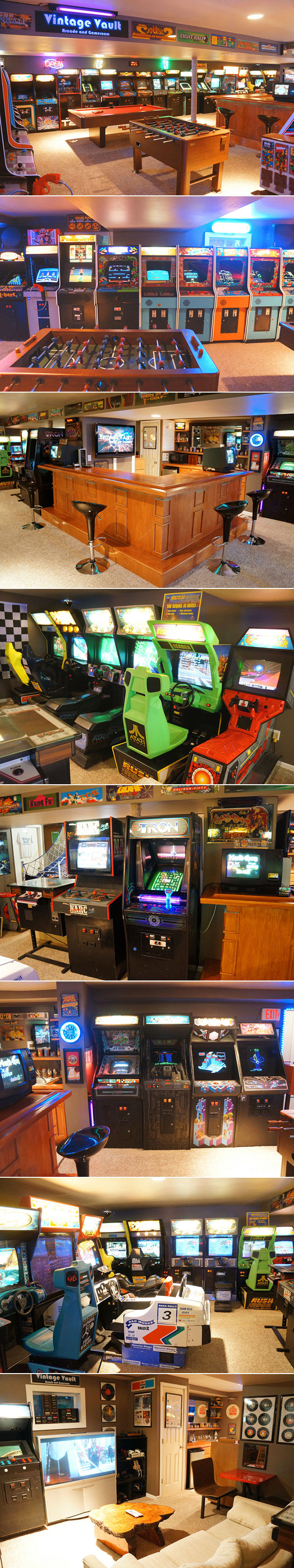 Vintage arcade basement