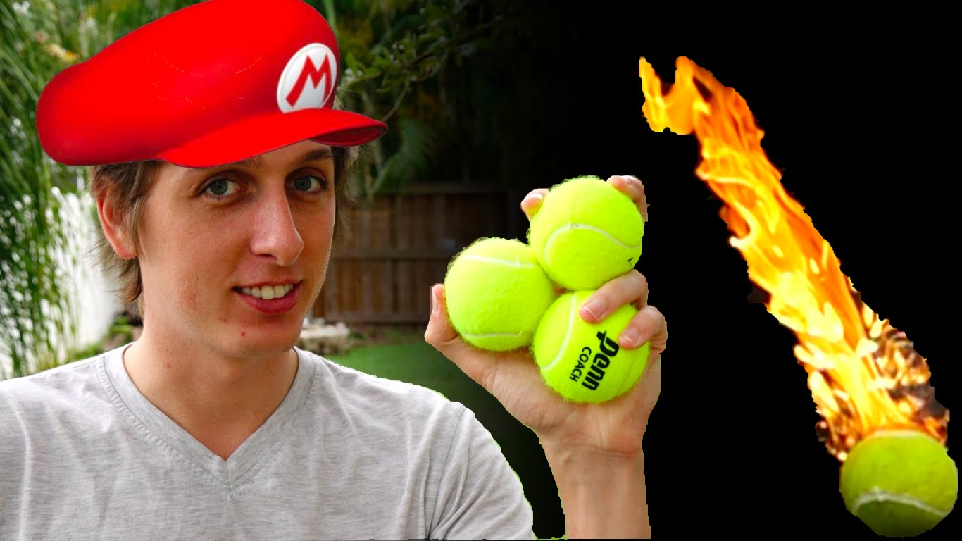 A gasoline drenched flaming tennis ball is like Mario Fireballs