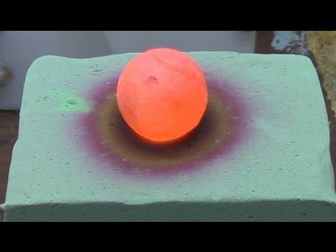 A red hot nickel ball placed on floral foam