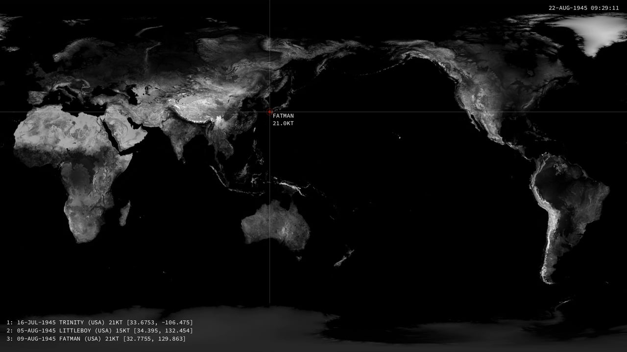 Stunning map visualization shows every nuclear detonation since 1945