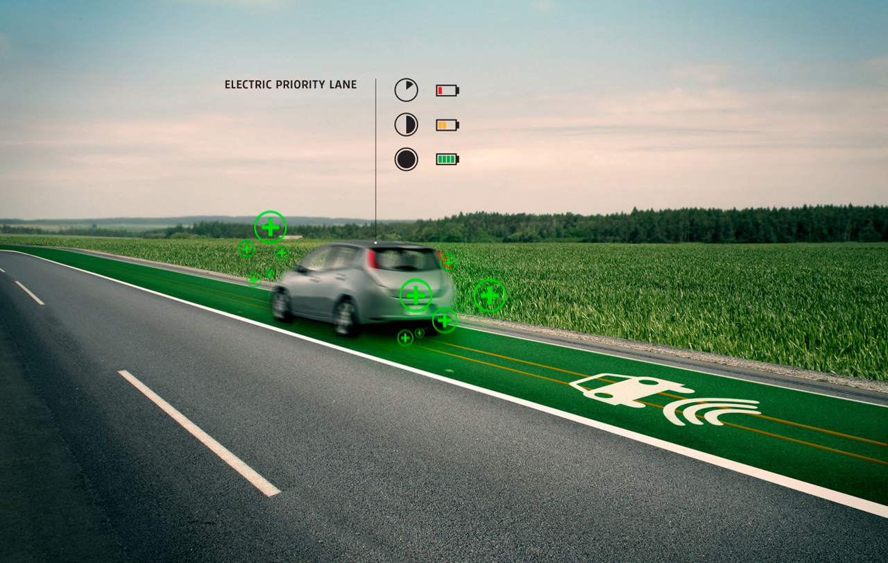 Futuristic Highway That Wirelessly Charges Electric Cars as They Drive
