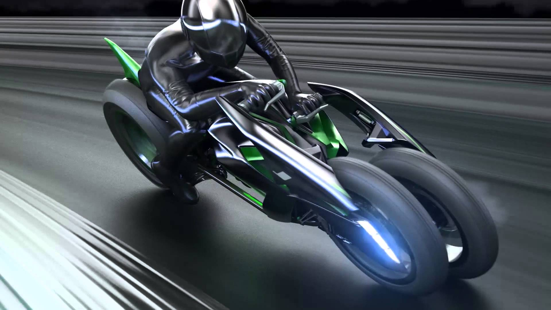 When TRON Light Cycle Meets 3-Wheeled Electric Motorcycle, You Get the Kawasaki J