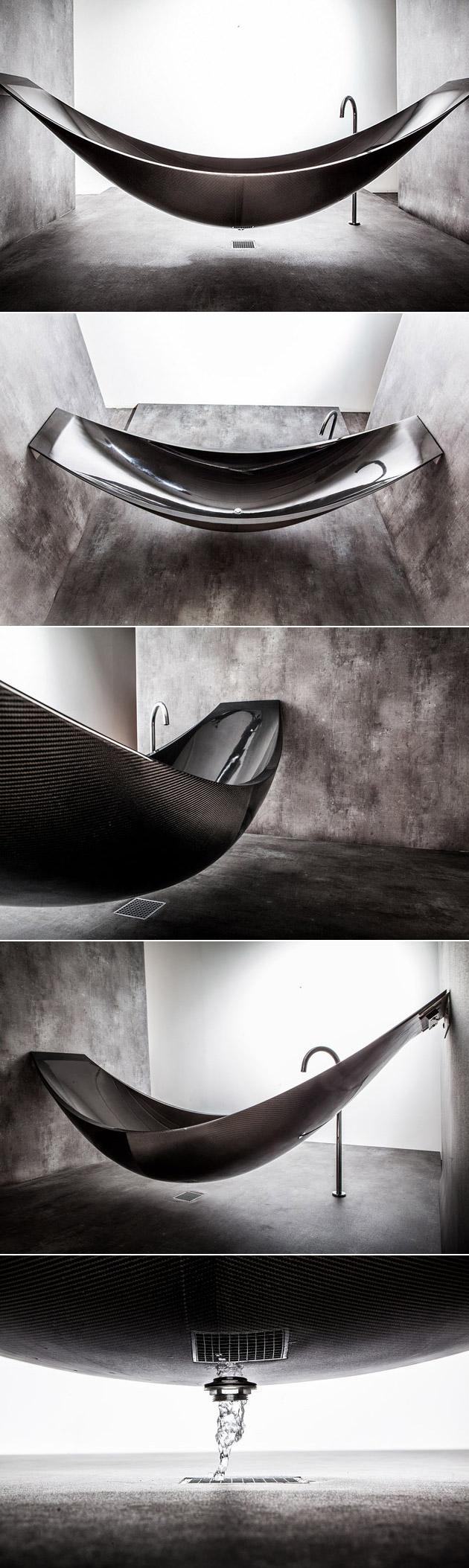 Forget normal tubs the carbon fiber vessel hammock for Carbon fiber hammock bathtub