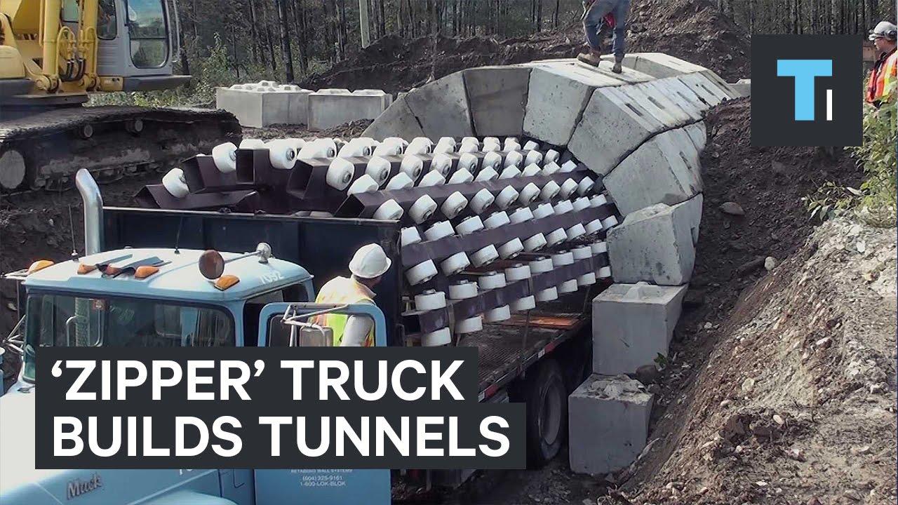 'Zipper' truck builds tunnels