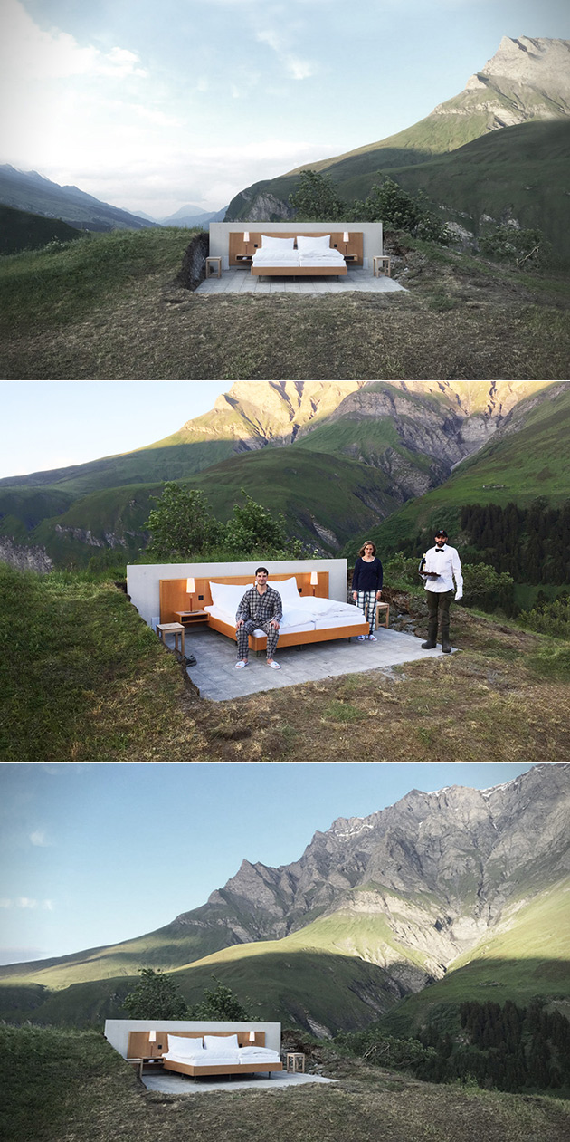 this is a hotel in open air in the swiss alps. Black Bedroom Furniture Sets. Home Design Ideas