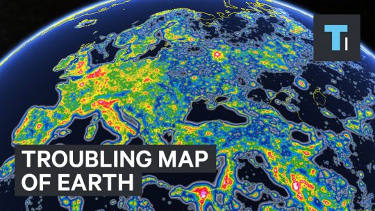 Troubling map of Earth Showing Light Pollution