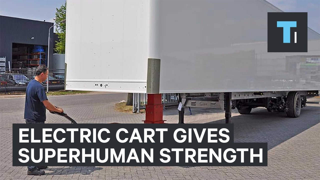 This electric cart gives humans the superhuman strength to pull an entire tractor trailer