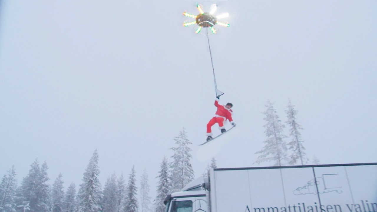 Human Snowboarding with a Drone