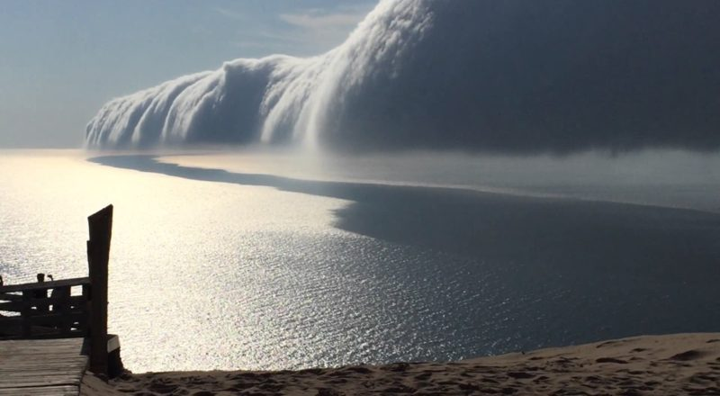 Incredible low cloud formation over Lake Michigan