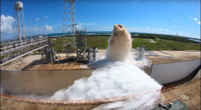 Launch Pad Water Deluge System Test at NASA