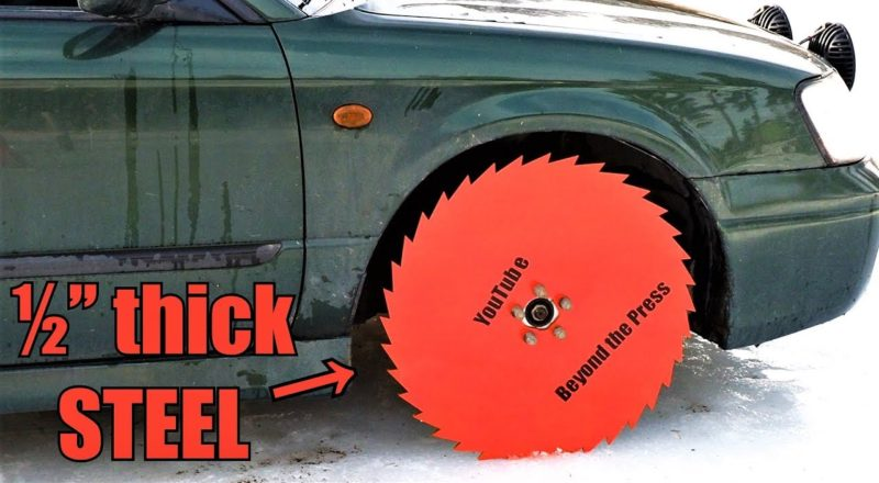 Driving with Saw Blade Wheels on Frozen Lake!